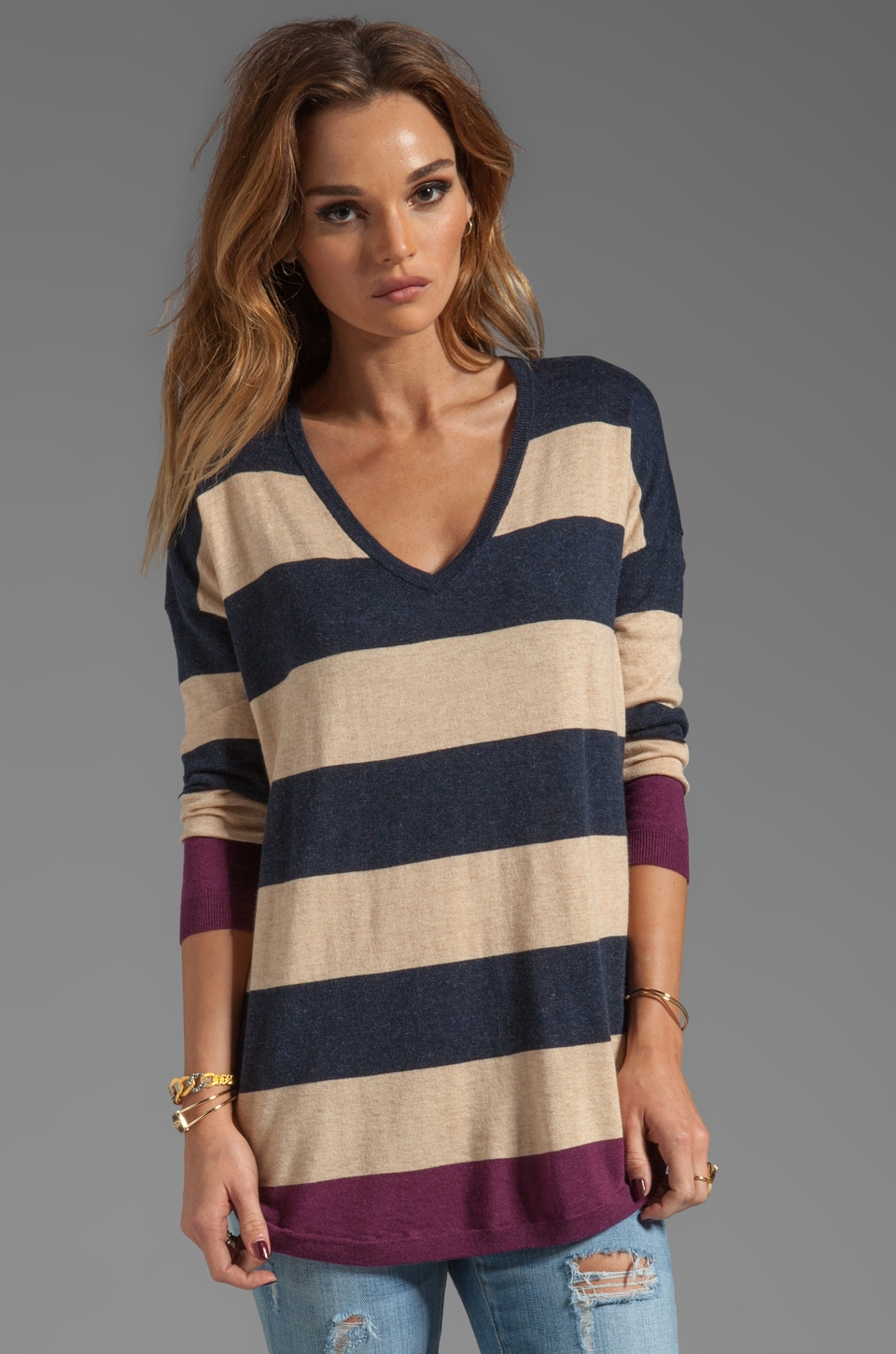 Joie Bold Stripe Chyanne B Sweater in Heather Midnight