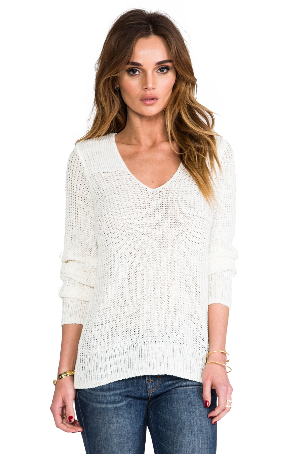 Joie Flanna Linen Sweater in Porcelain