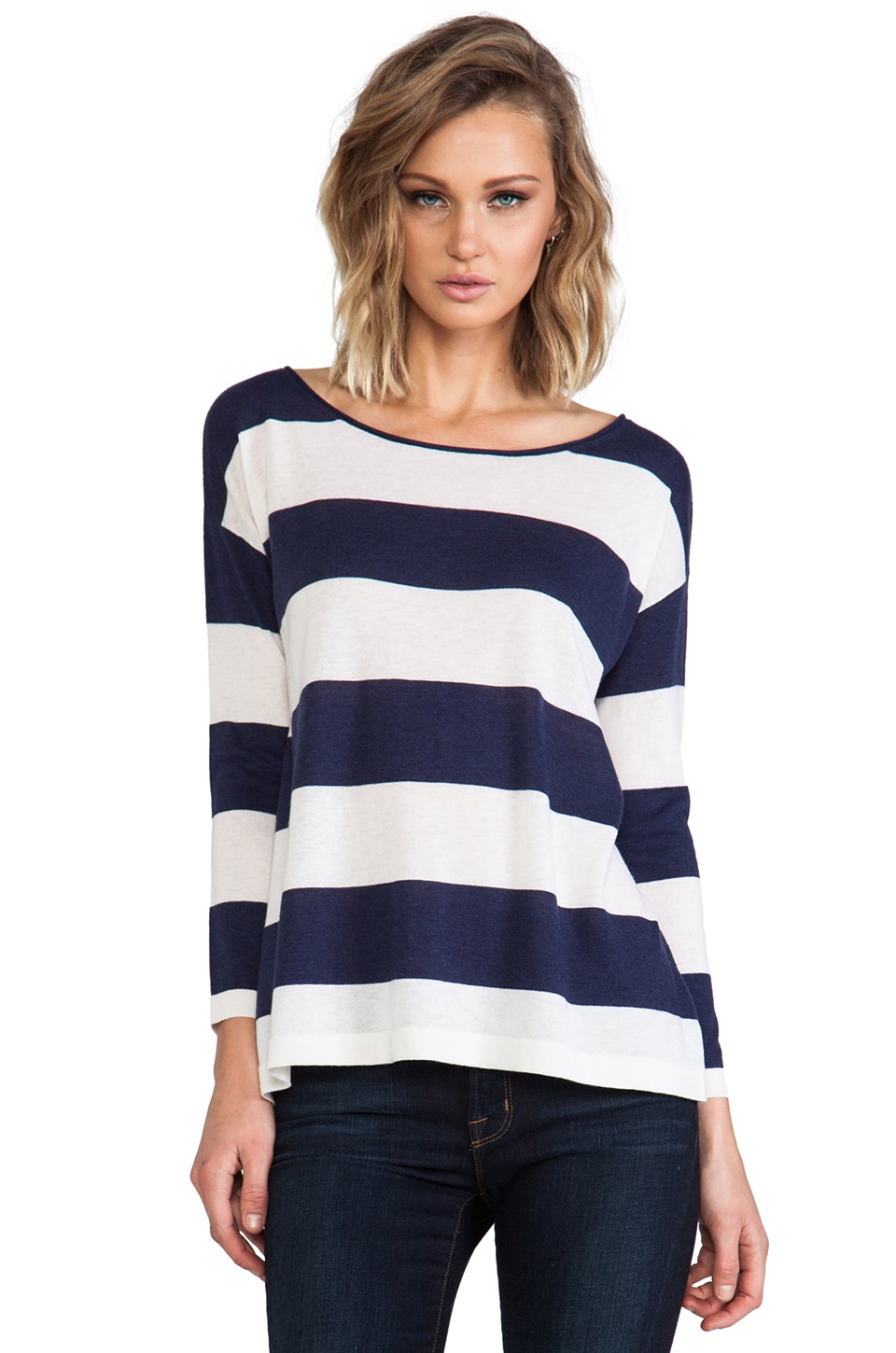 Joie Briella Classic Stripe Pullover in Dark Navy & Porcelain