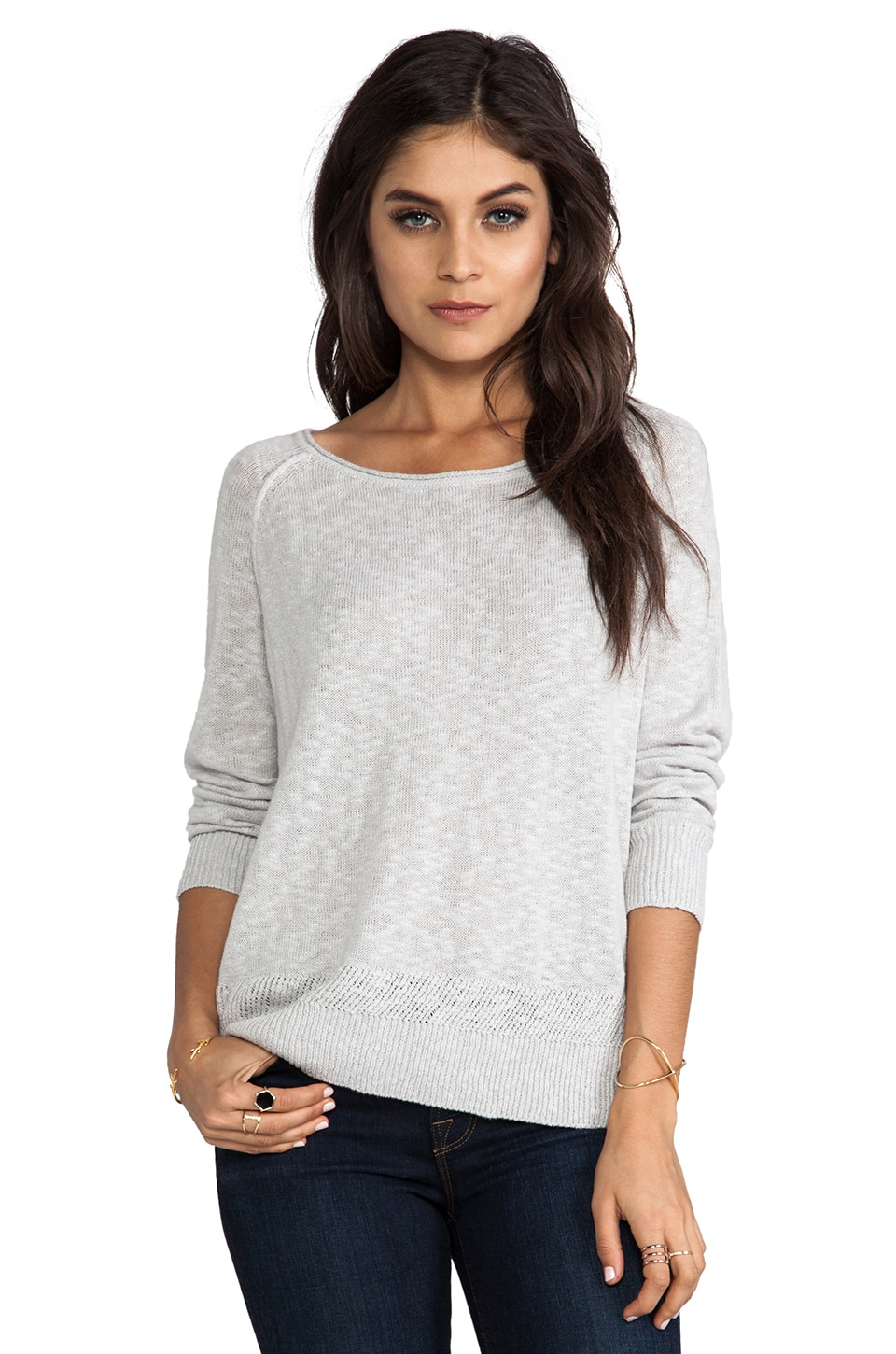Joie Lynn Slubby Cotton Linen Pullover in Light Smoke