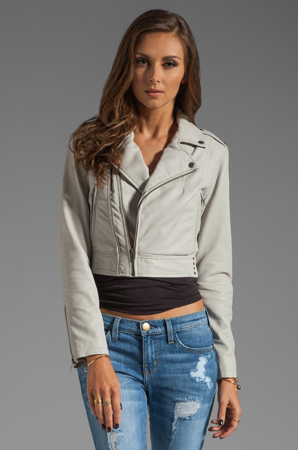 Joie Dolores B Paper Leather Jacket in Pale Grey