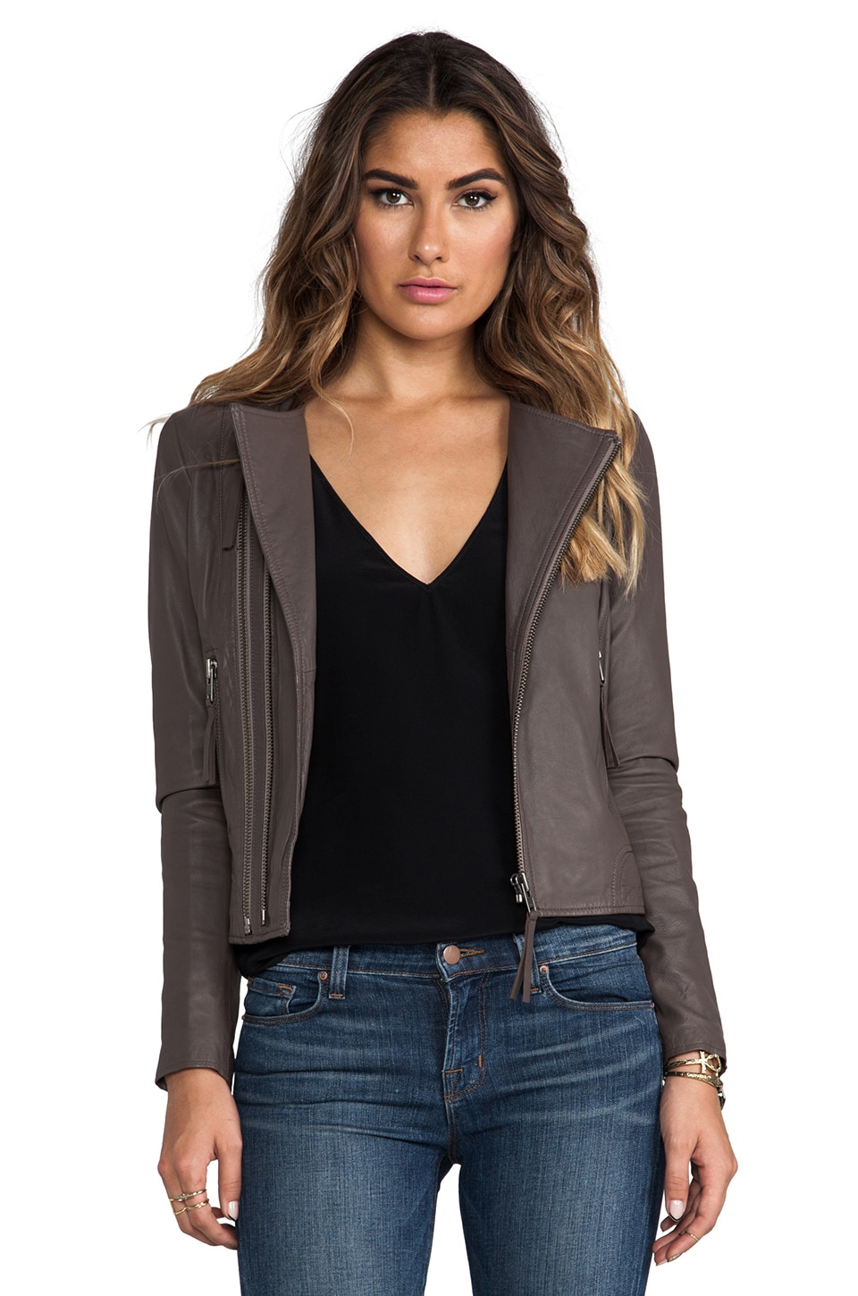 Joie Regal Leather Kaylie Jacket in Mink