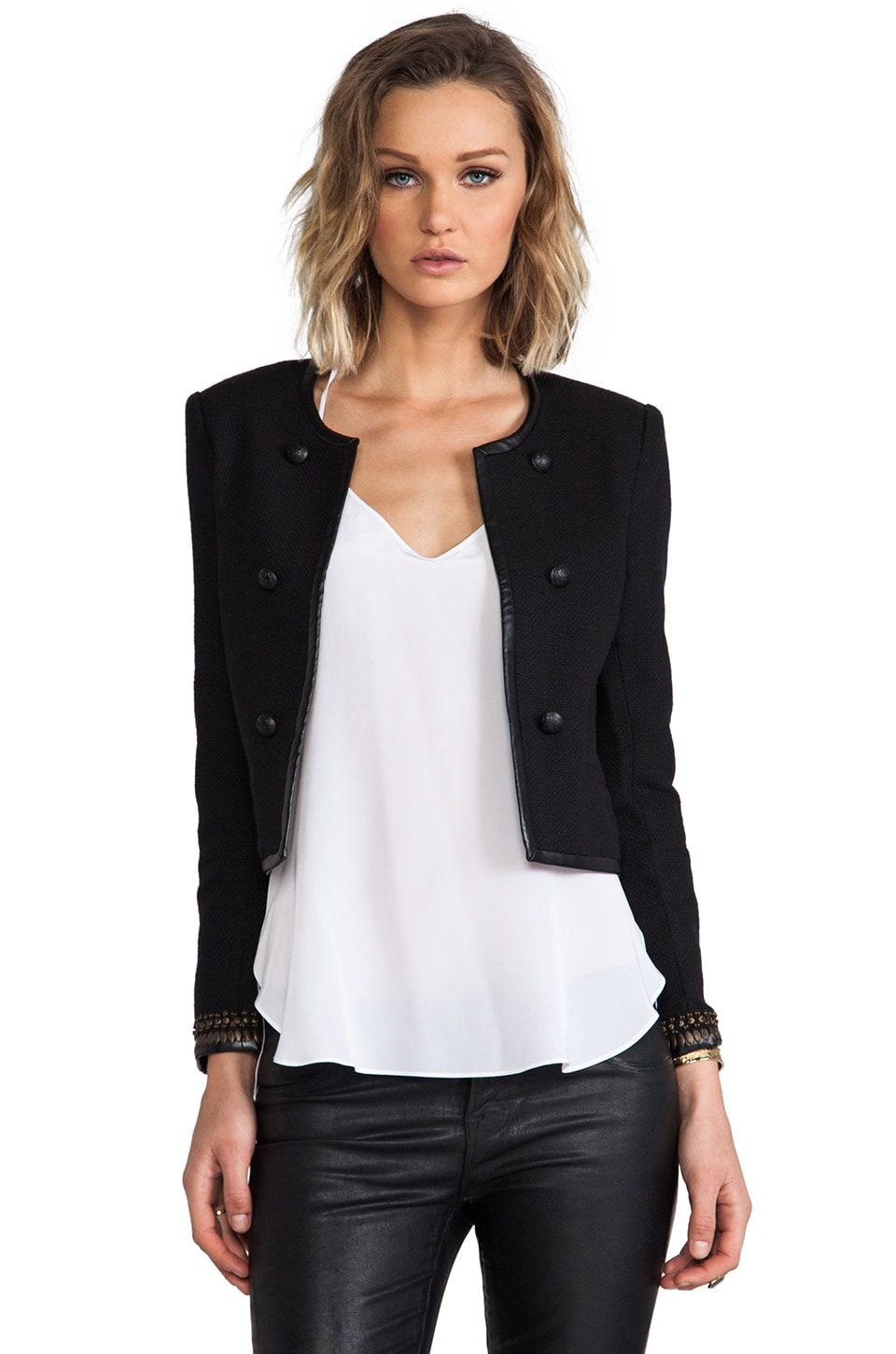 Joie Basket Weave Damaris Jacket in Caviar