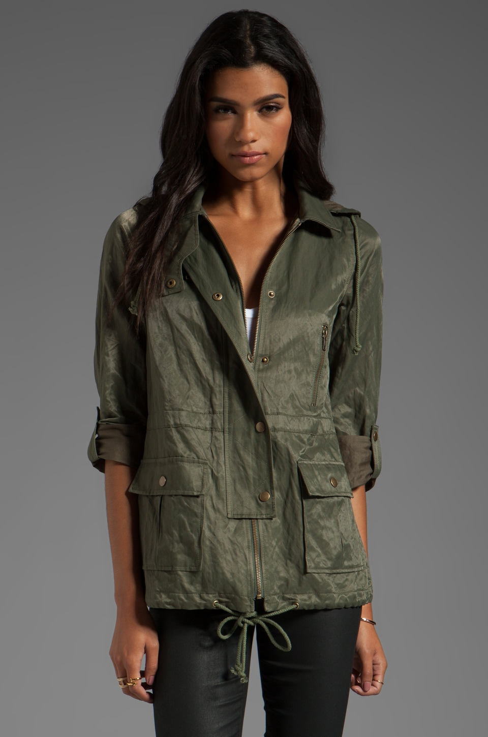 Joie Nylon Barker Jacket in Fatigue