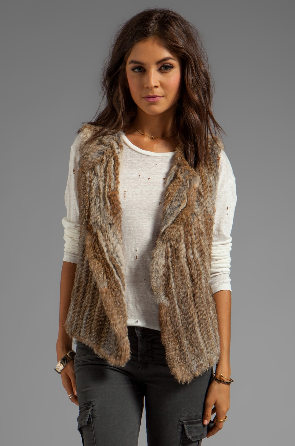 Joie Knitted Rabbit Fur Andoni Vest in Warm Natural
