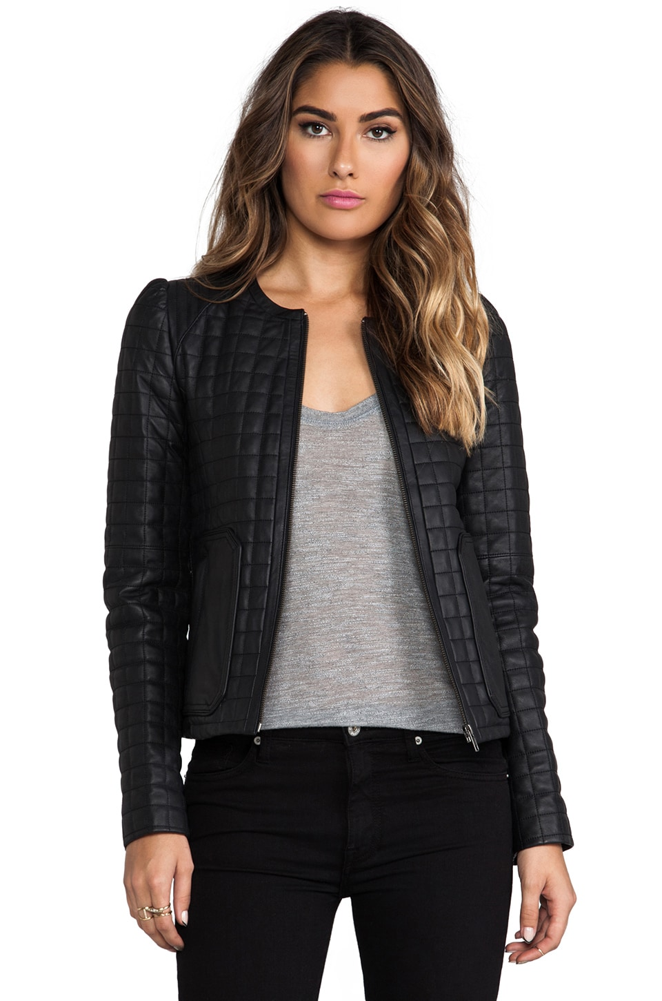 Joie Quilted Alessia Leather Yetta Jacket in Caviar