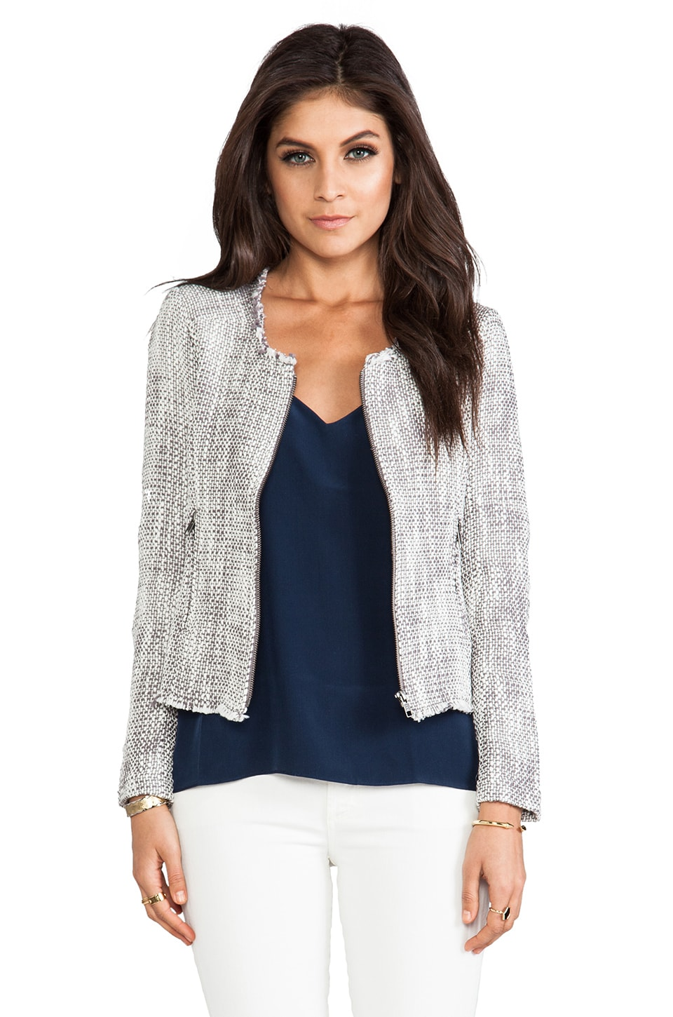 Joie Two Tone Tweed Collis Jacket in Dark Heather Grey