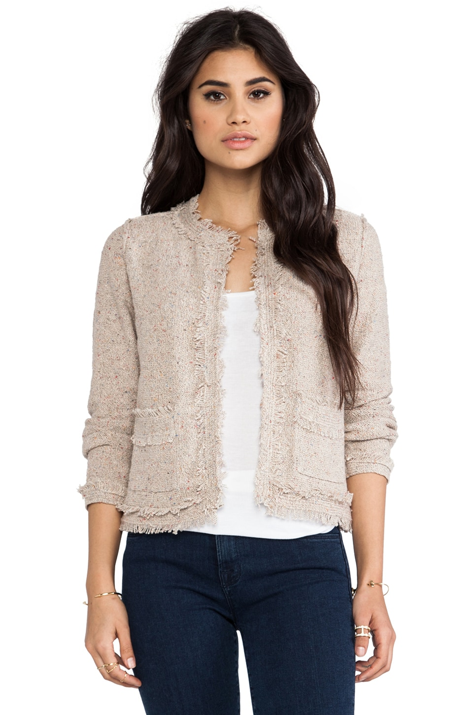 Joie Porsha Rainbow Boucle Jacket in Natural