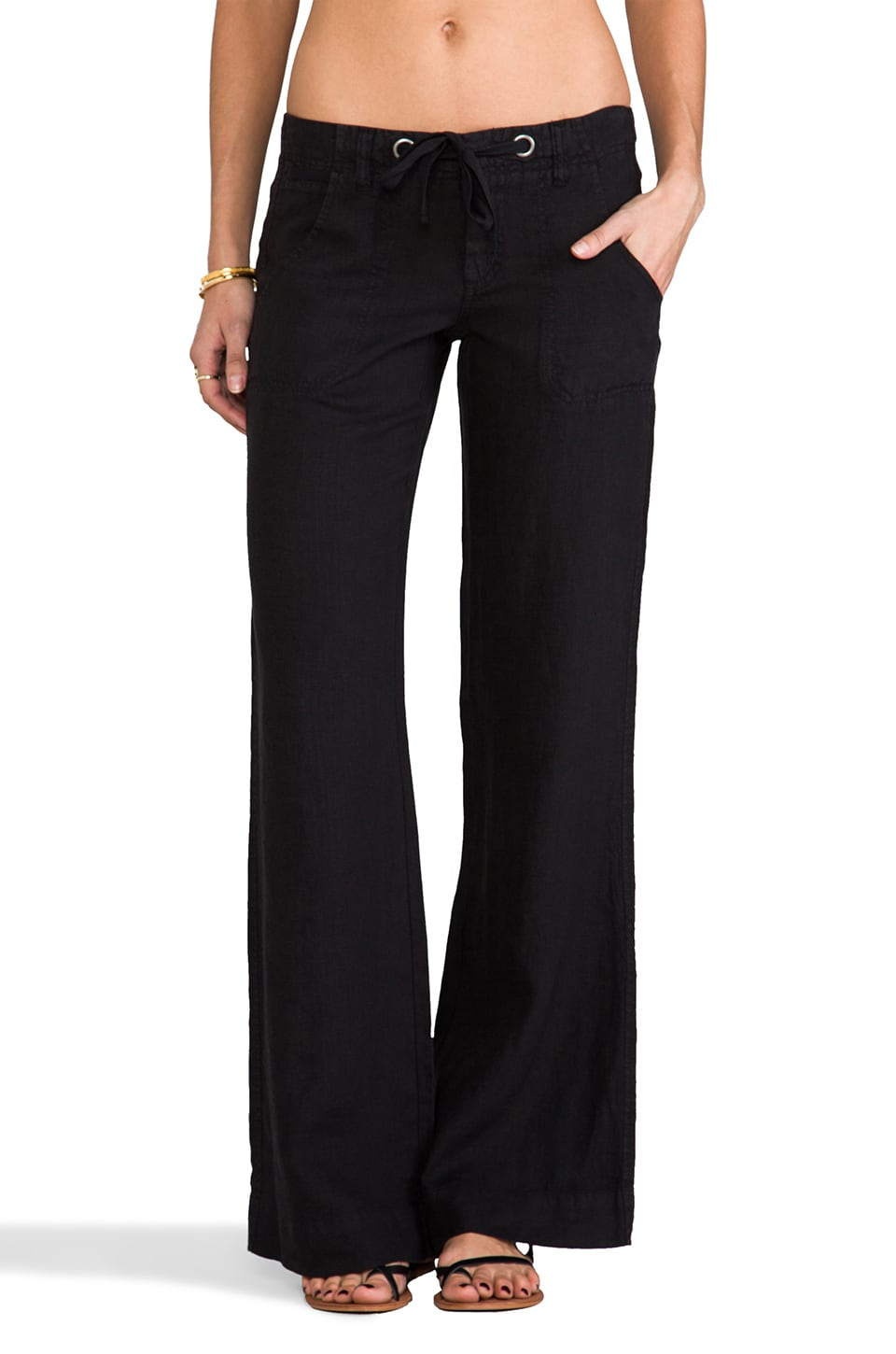 Joie Irreplaceable B Linen Pant in Caviar