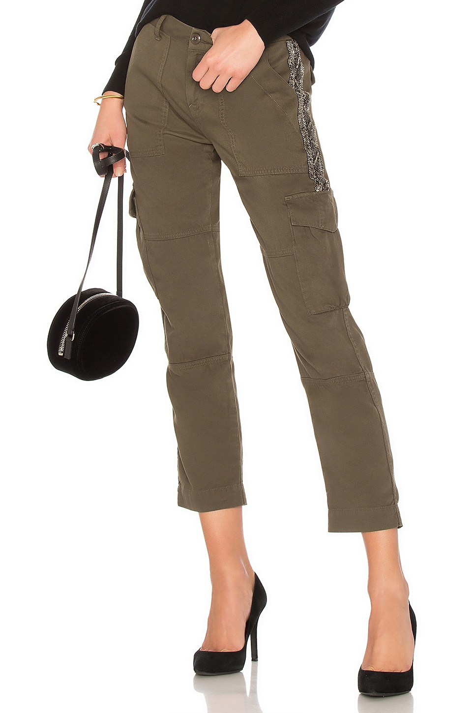 Joie Embellished Cargo Pant in Fatigue