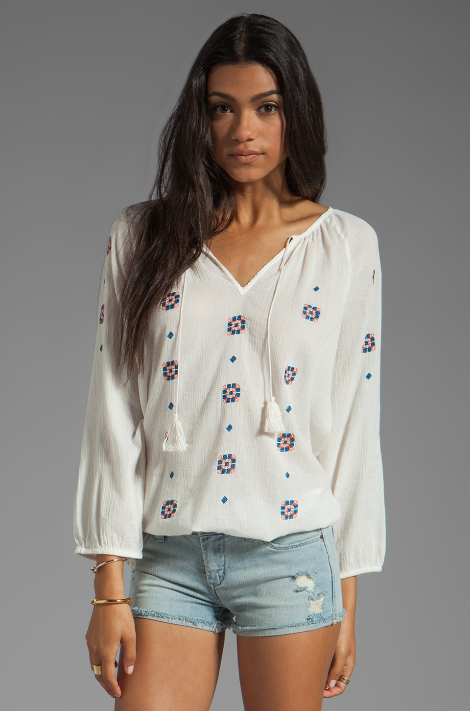 Joie Layann Embroidery Top in Porcelain