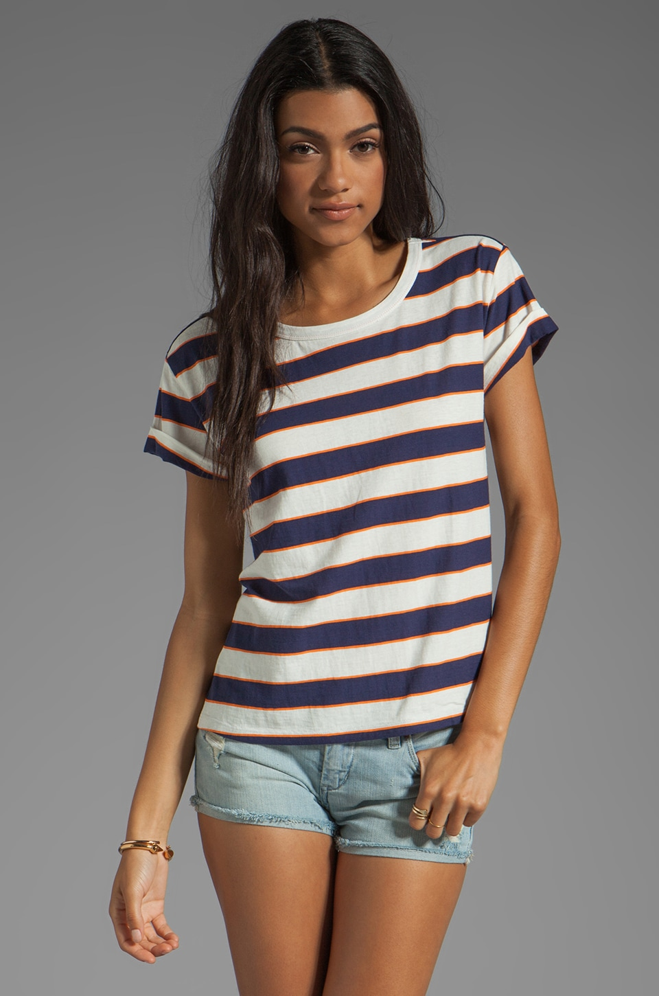 Joie Layden Stripe Tee in Blue Violet