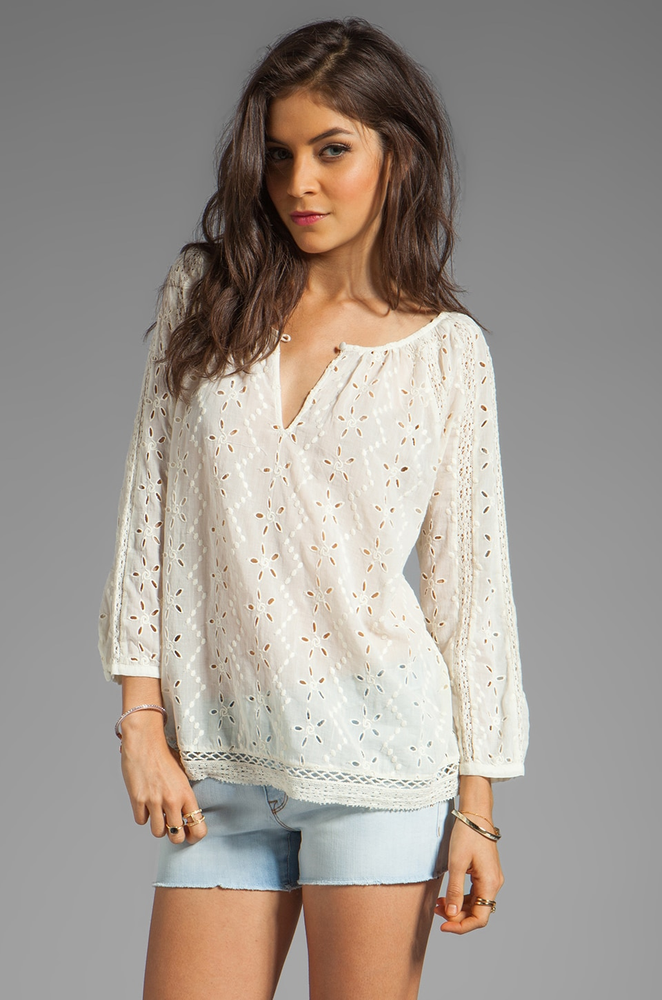 Joie Hansel Eyelet Blouse in Porcelain