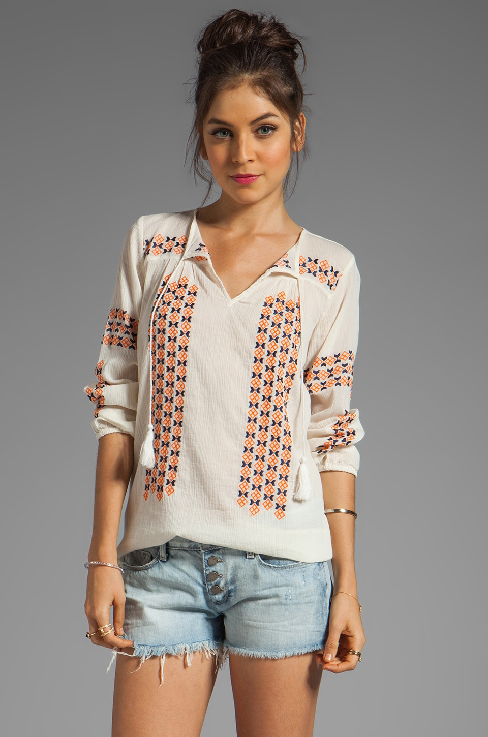 Joie Nira Geo Embroidery Top in Off-White/Spicy Orange