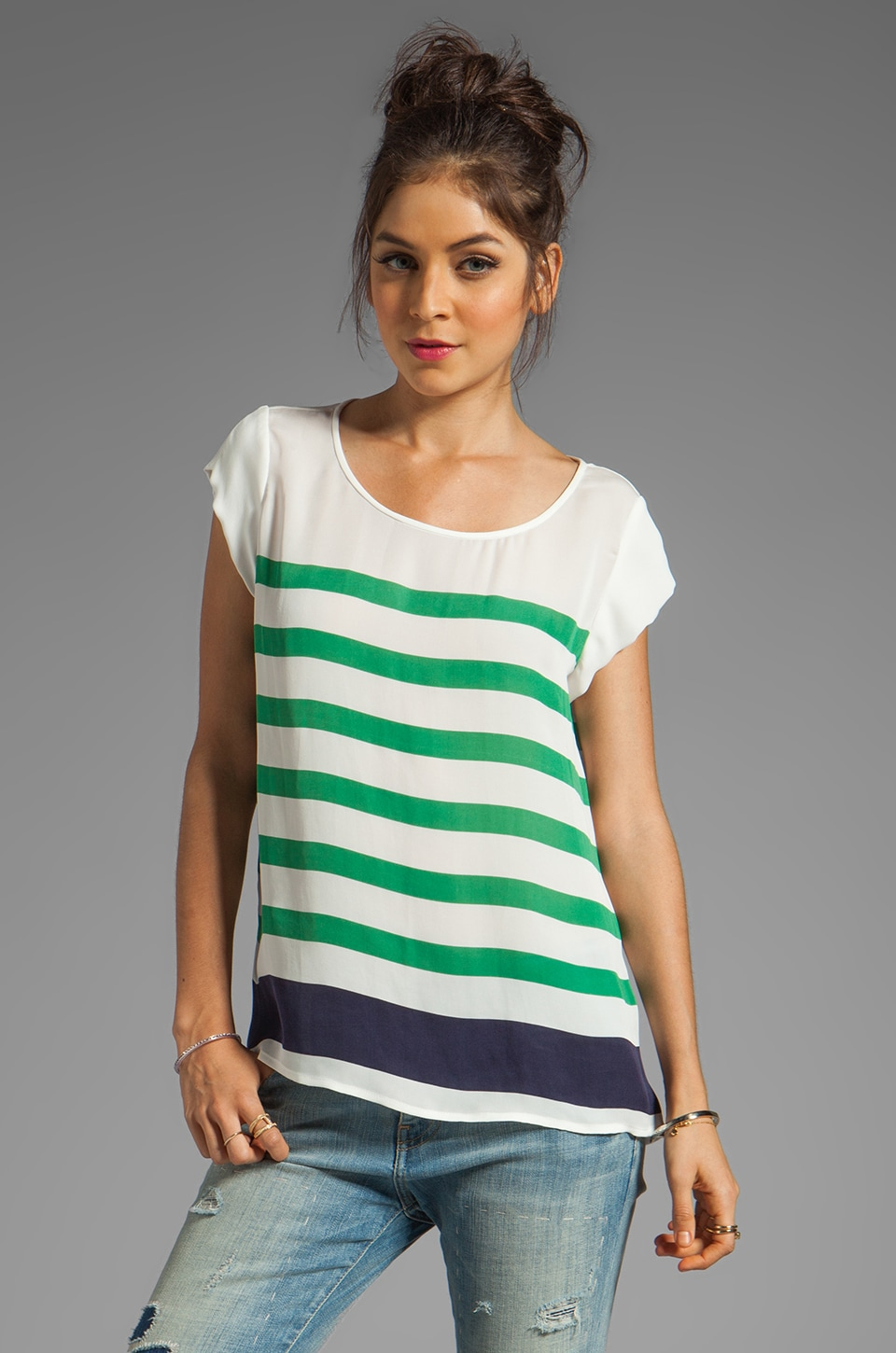 Joie Terry Stripe Print Top in Golf Green
