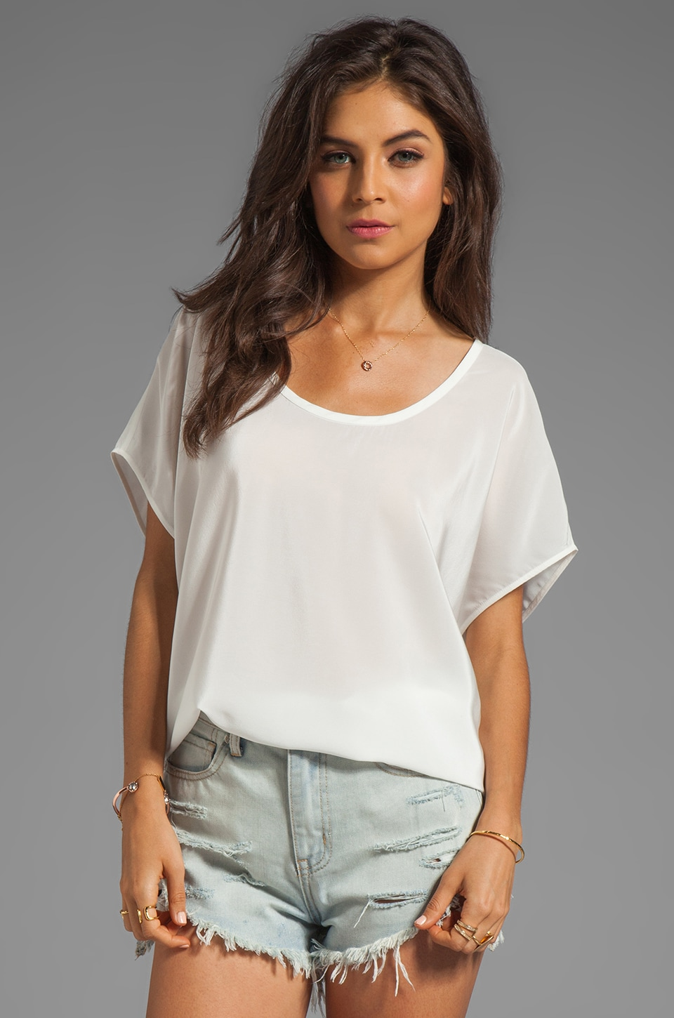 Joie Joann F Silk Top in Porcelain