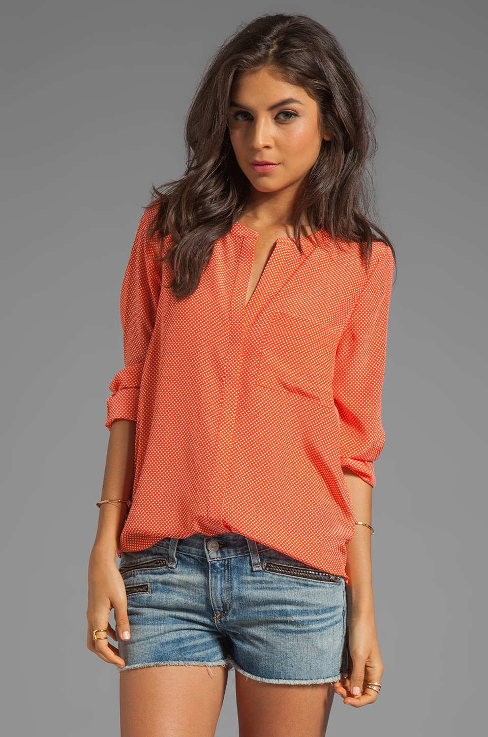 Joie Hanelli Diamond Print Blouse in Spicy Orange