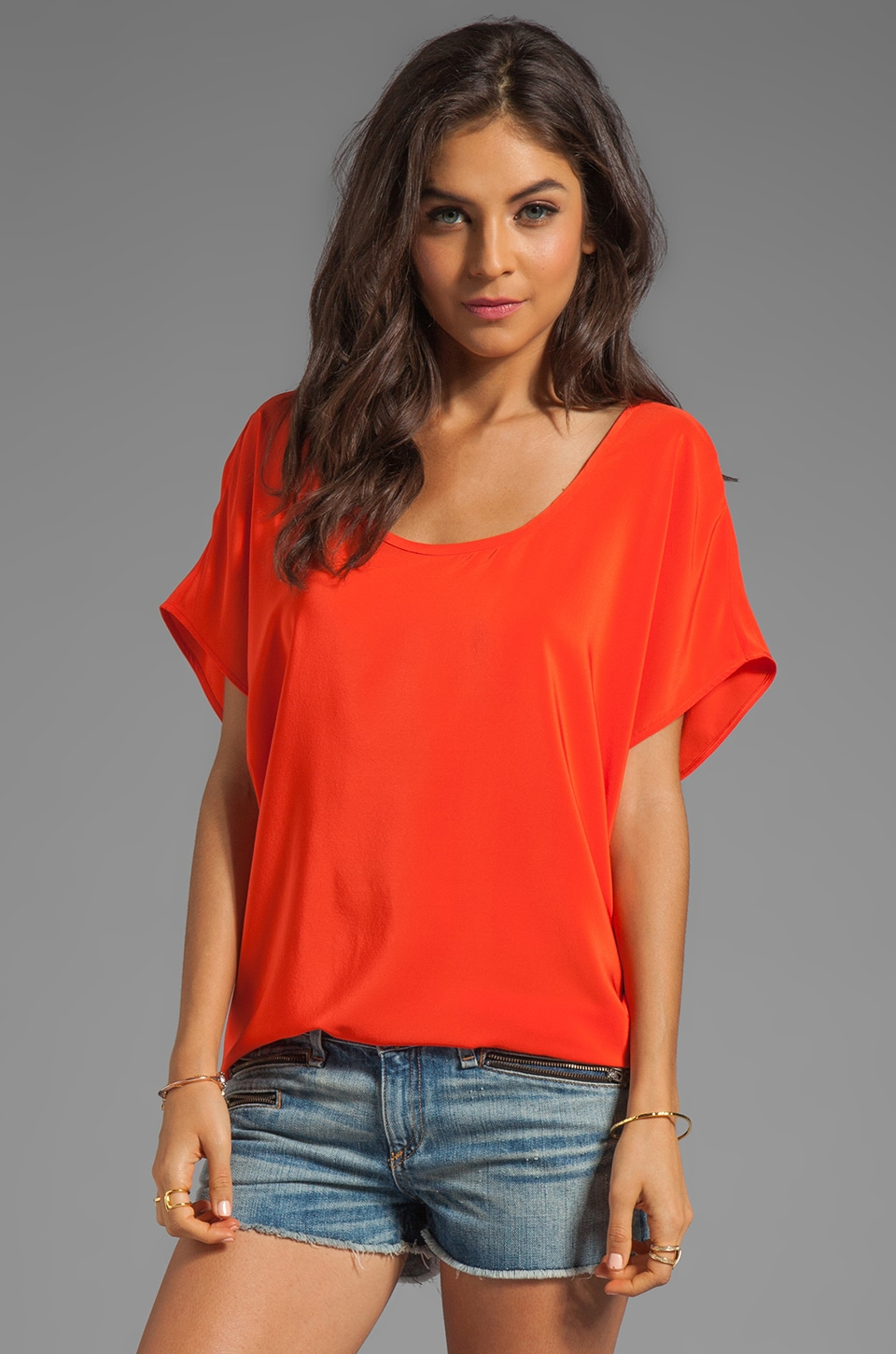 Joie Joann F Silk Top in Spicy Orange