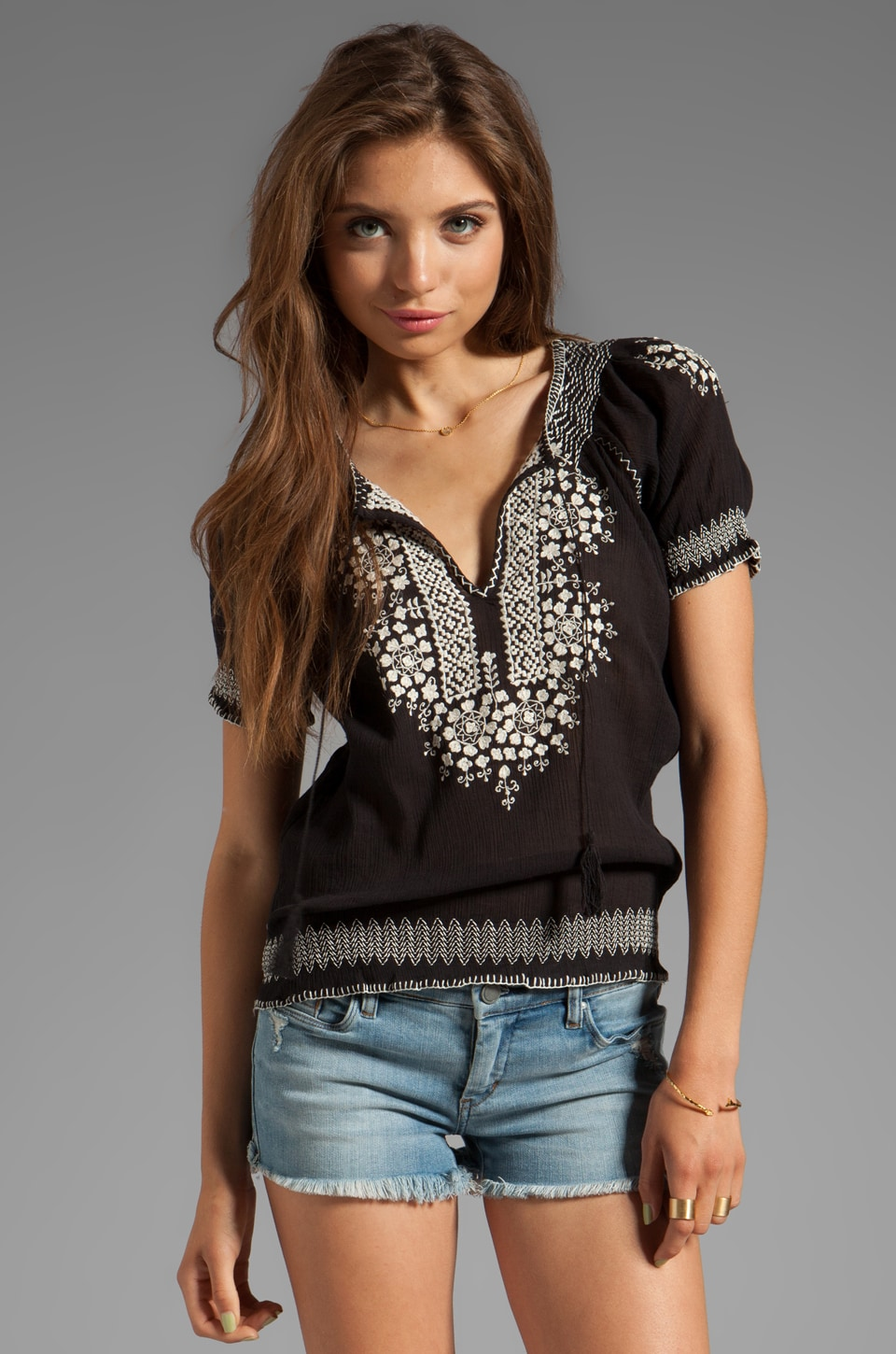 Joie Jamine Embroidery Top in Caviar/New Moon