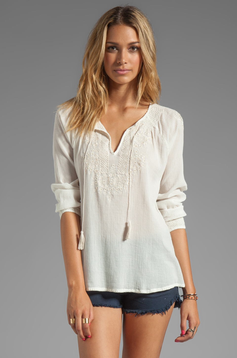 Joie Majorie Embroidery Top in Porcelain/New Moon