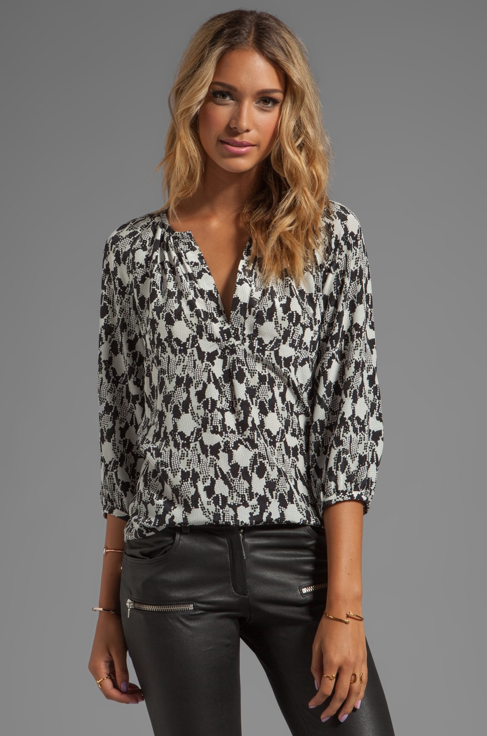 Joie Snake Mosaic Addie D Blouse in Light Dove