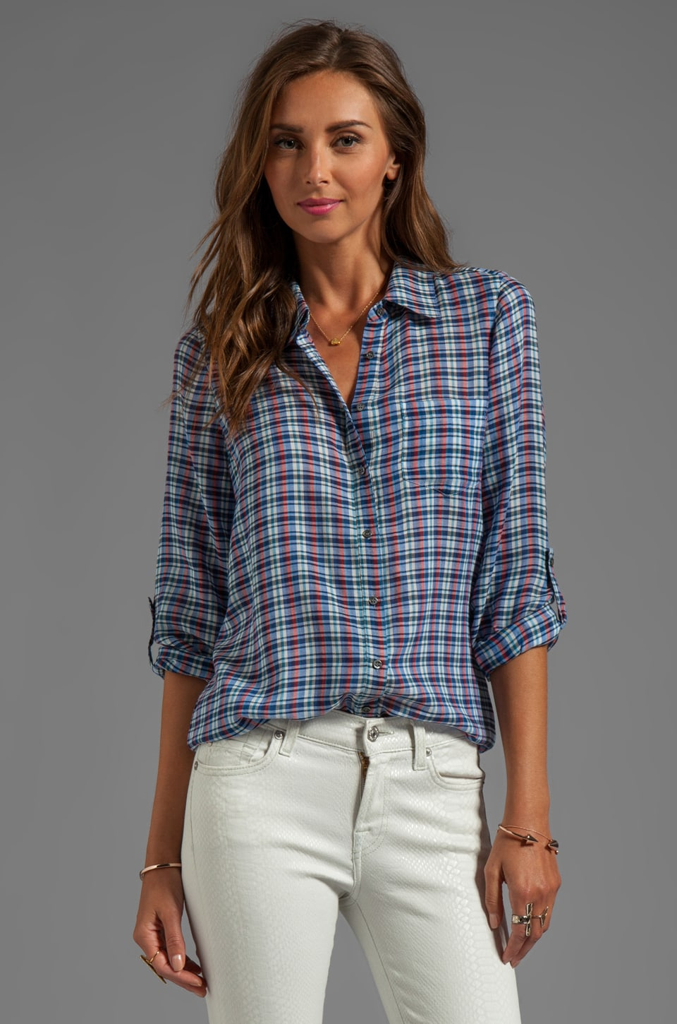 Joie Yard Dye Plaid Moshina Top in Peruvian Blue
