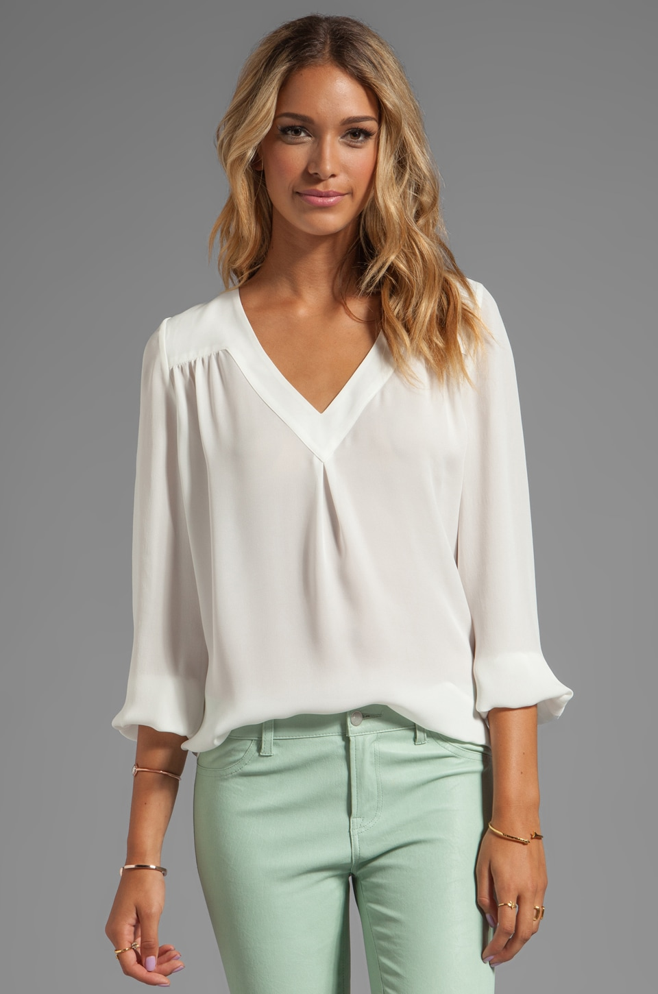Joie Matte Silk Frenchie B Blouse in Porcelain