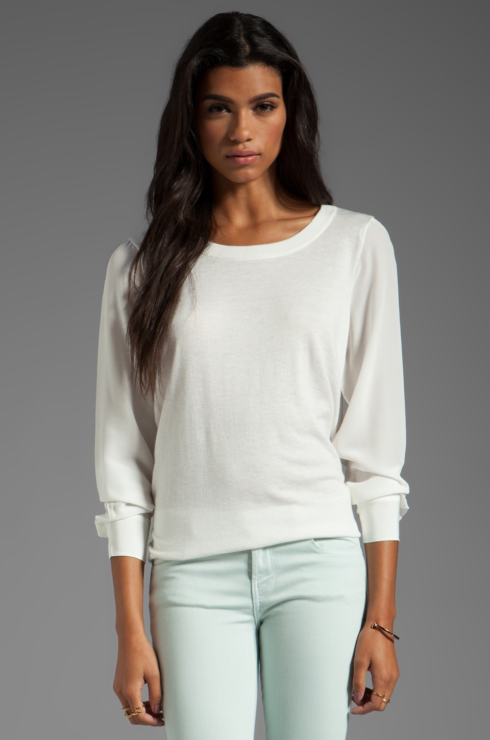 Joie Solid With Silk Kelsea Top in Porcelain