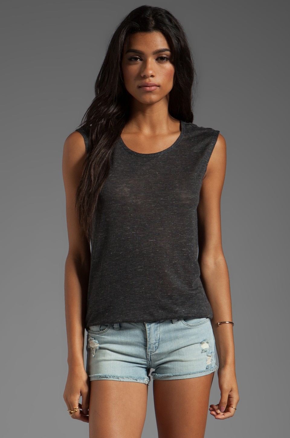 Joie Heather Linen Slub Junie Top in Heather Charcoal