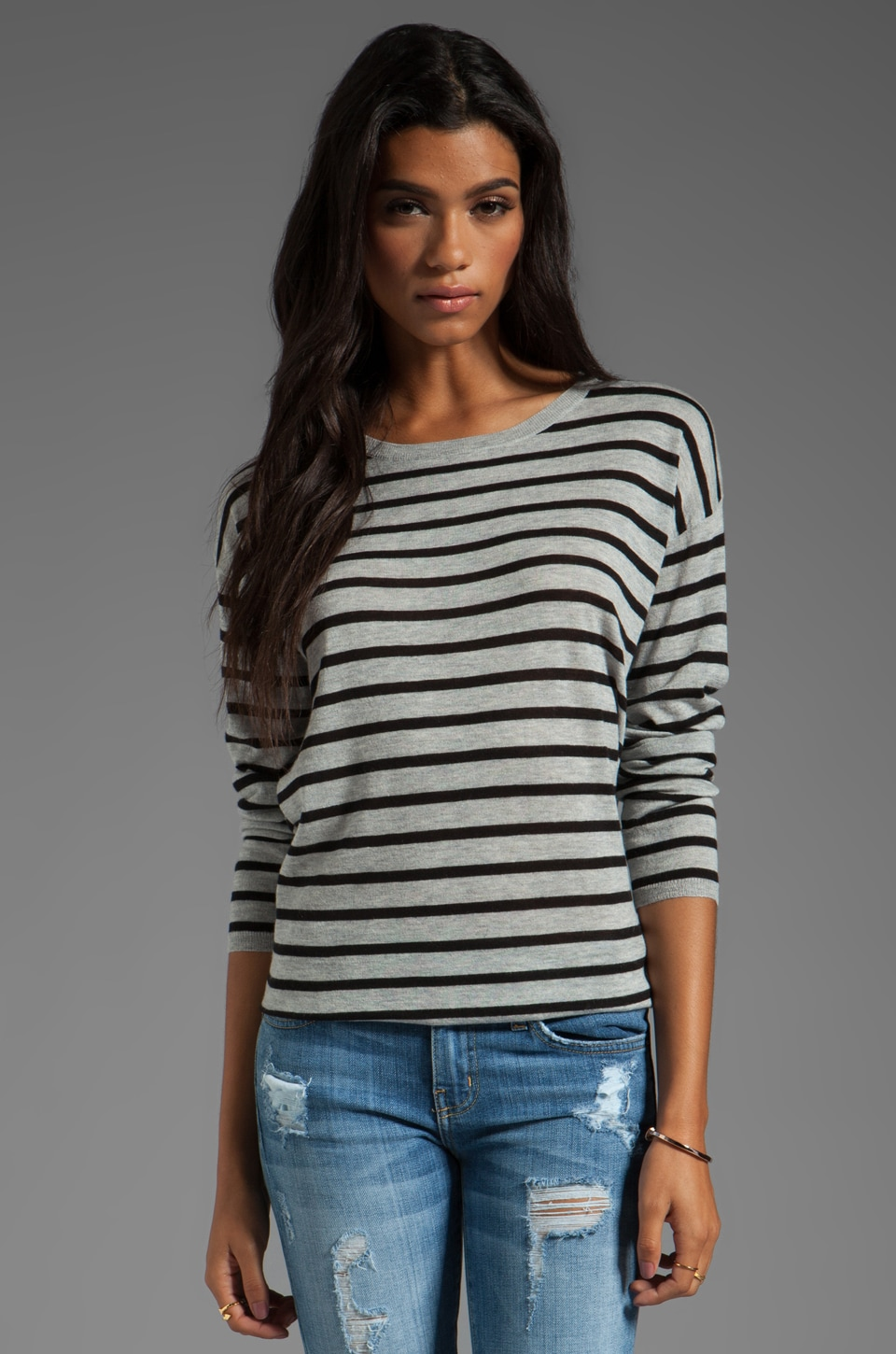 Joie Feather Weight Pop Stripe Millie Top in Caviar/Light Heather Grey