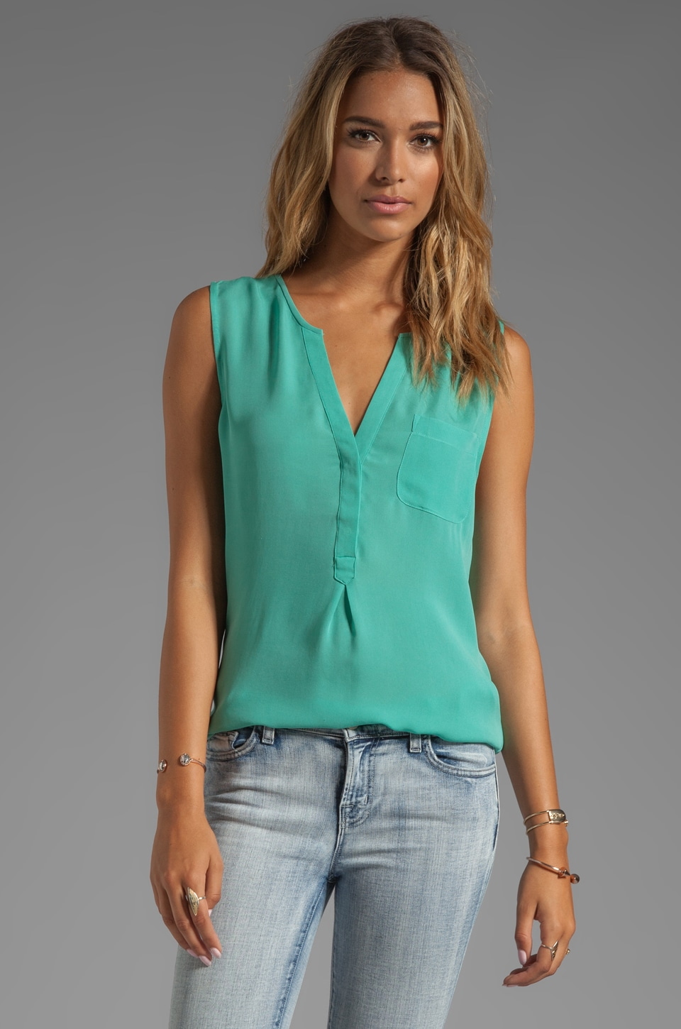 Joie Matte Silk Vanitra Sleeveless Blouse in Neon Jade