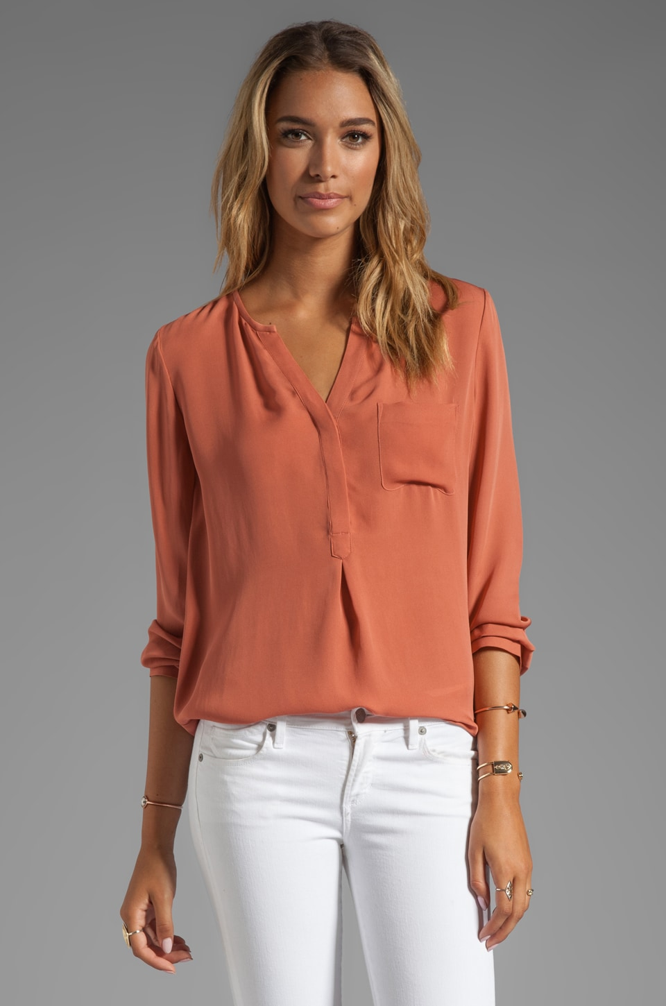 Joie Matte Silk Venicia D Blouse in Clay
