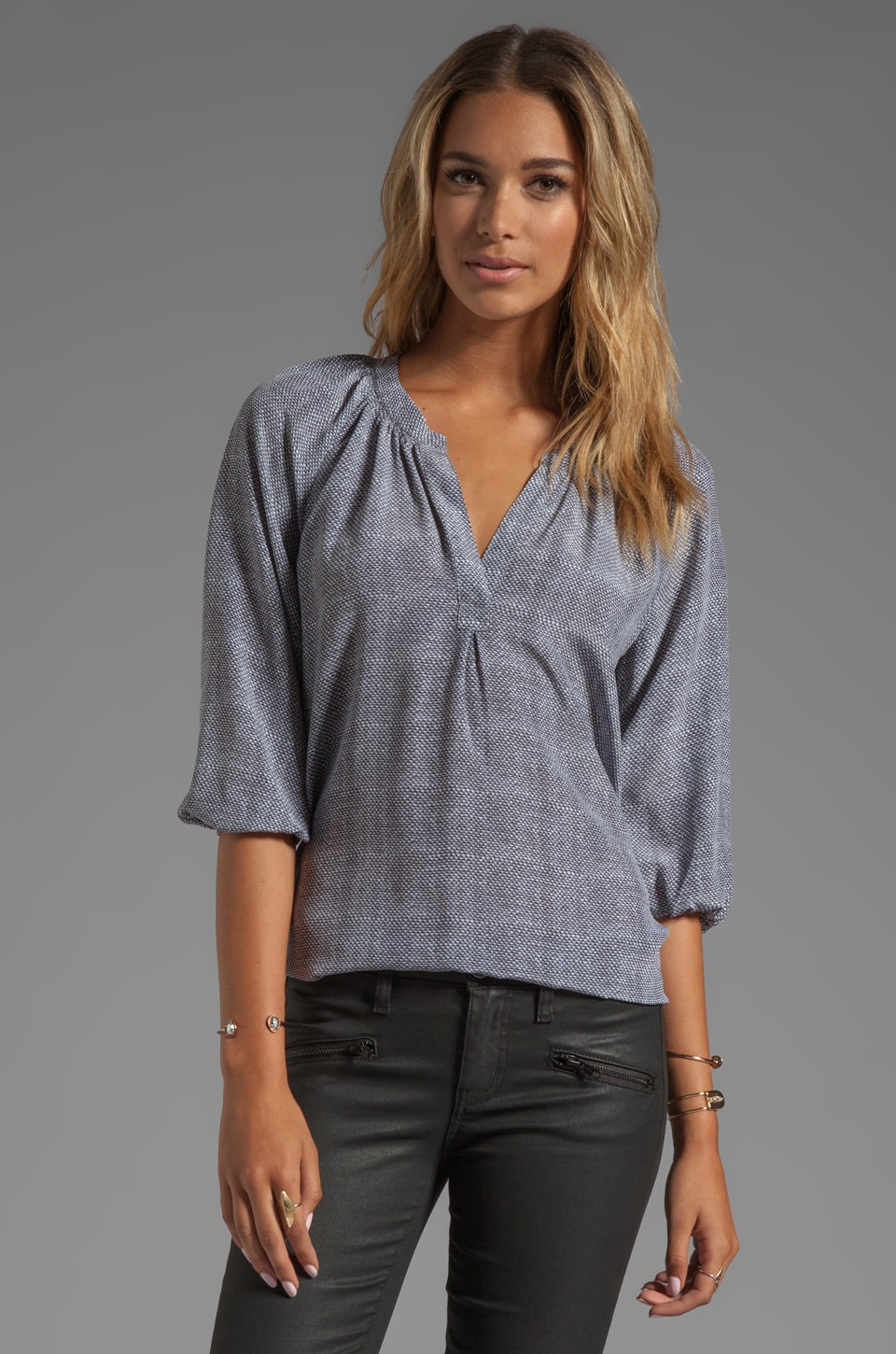 Joie Textural Print Addie B Blouse in Bluestone
