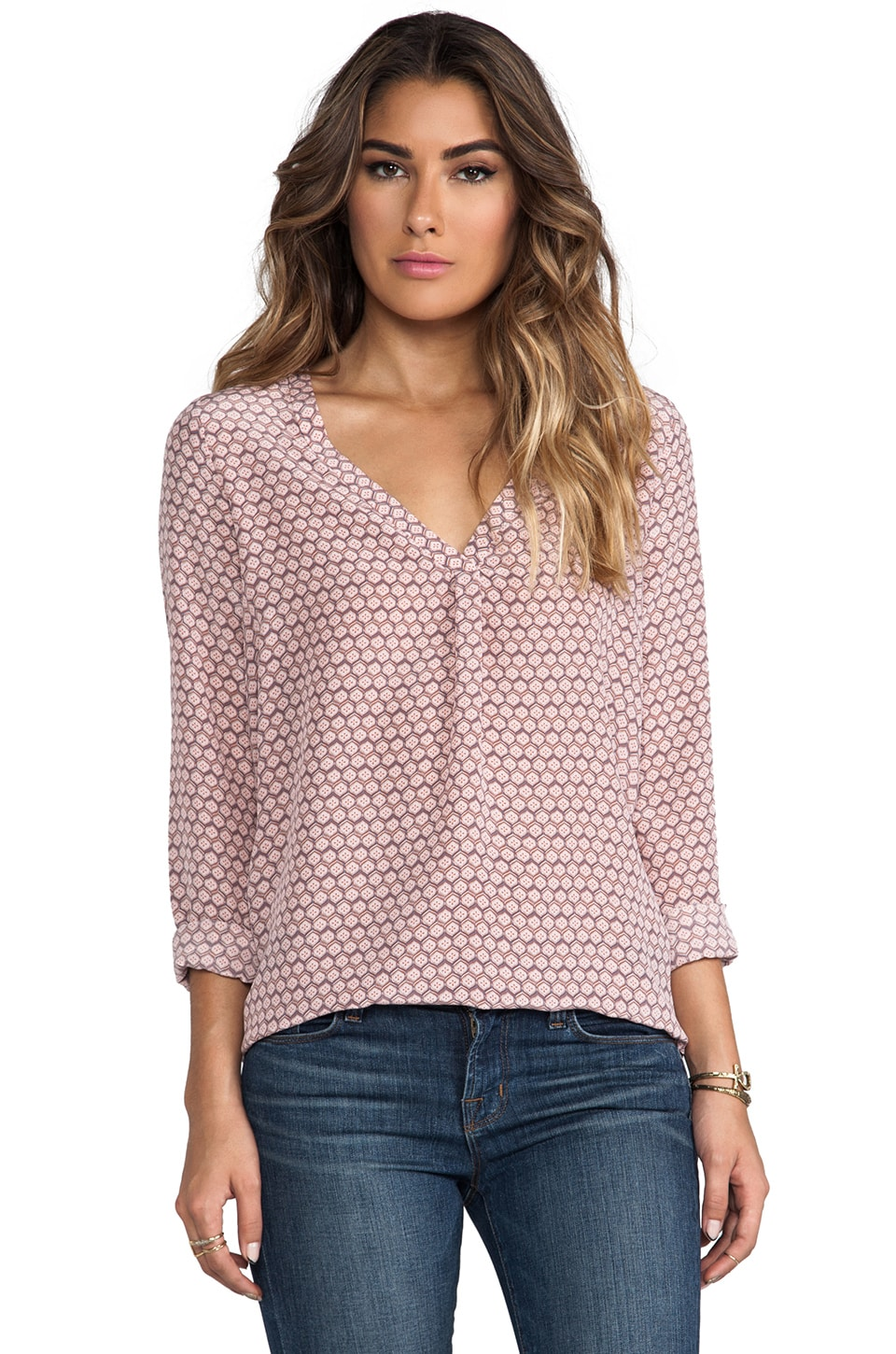 Joie Floral Tile Printed Savory Silk Daryn Blouse in Powder Pink