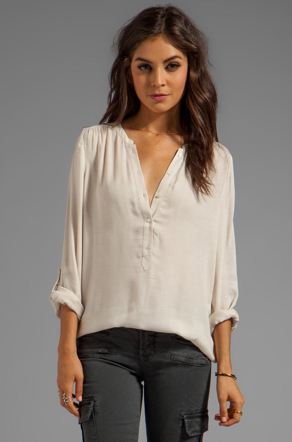 Joie Twill Rayon Tamarine Blouse in New Moon