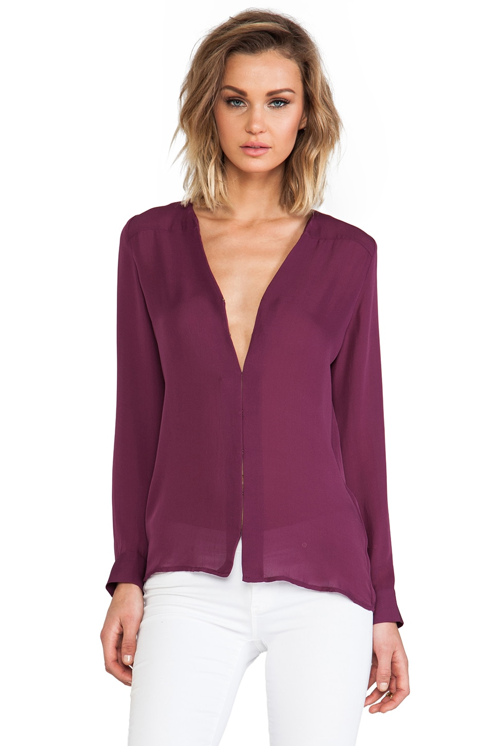 Joie Matte Silk Jardena Blouse in Shiraz