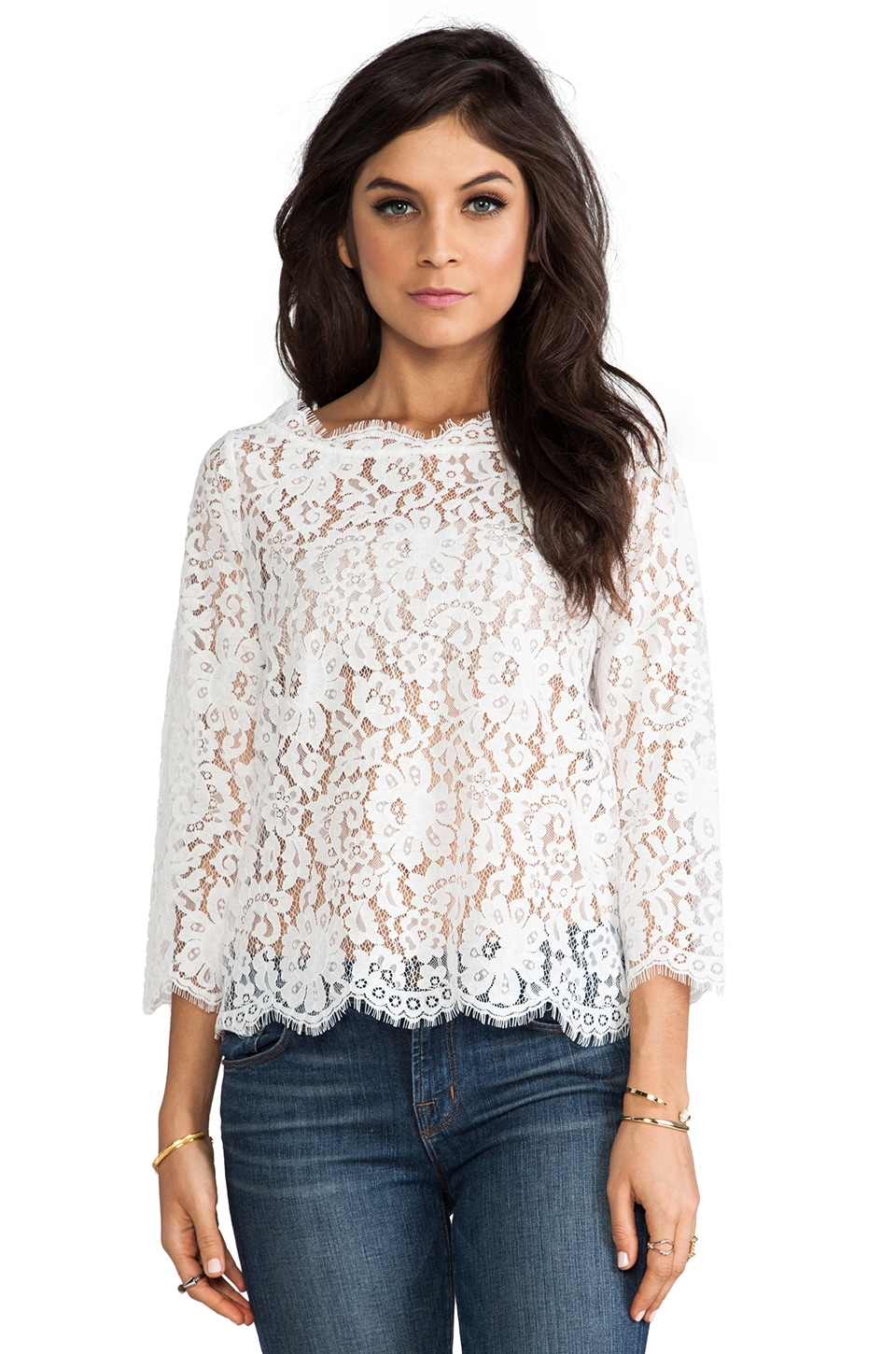 Joie Allover Lace Elvia C Top in Porcelain