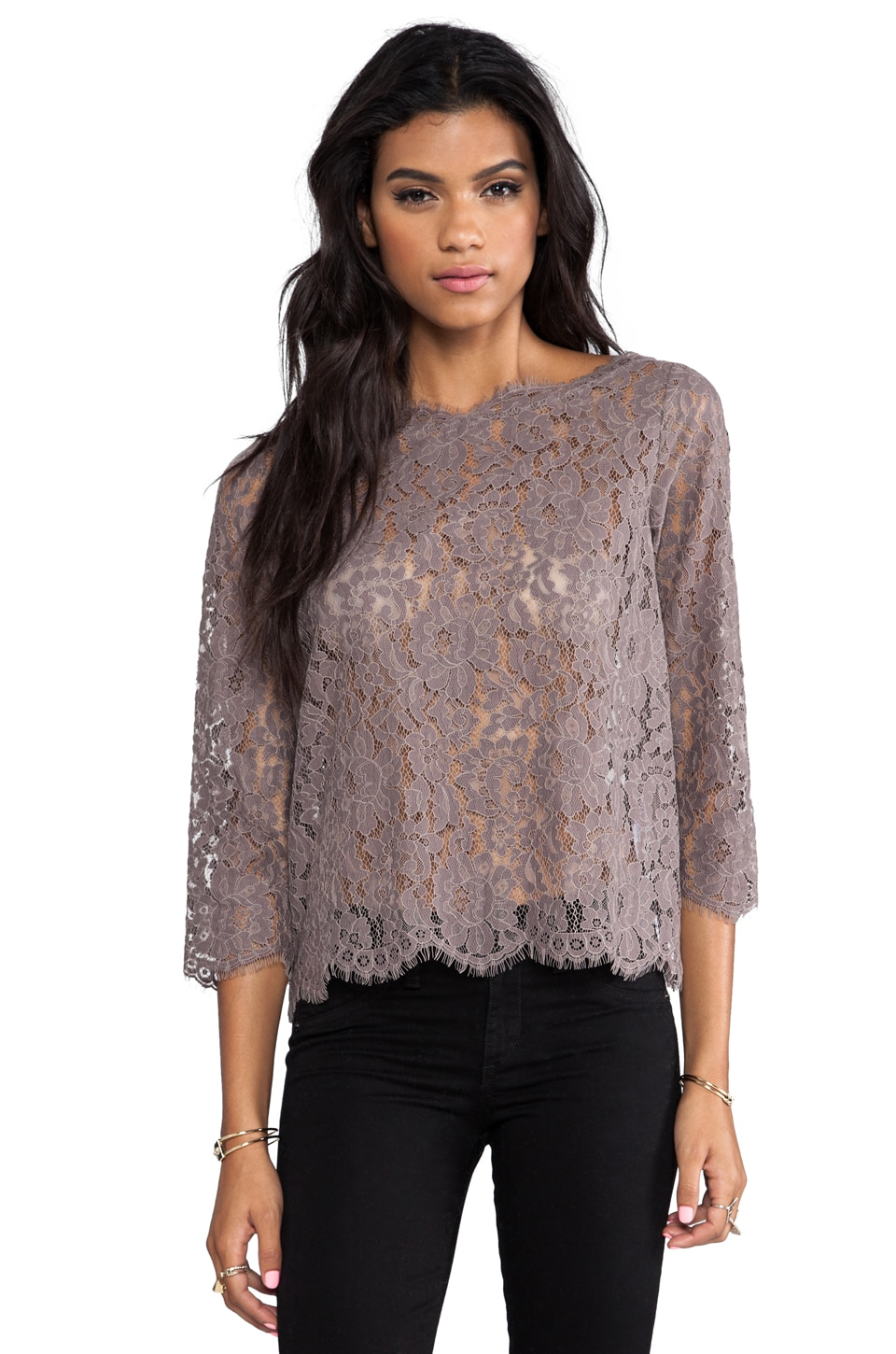 Joie Allover Lace Elvia C Top in Mink