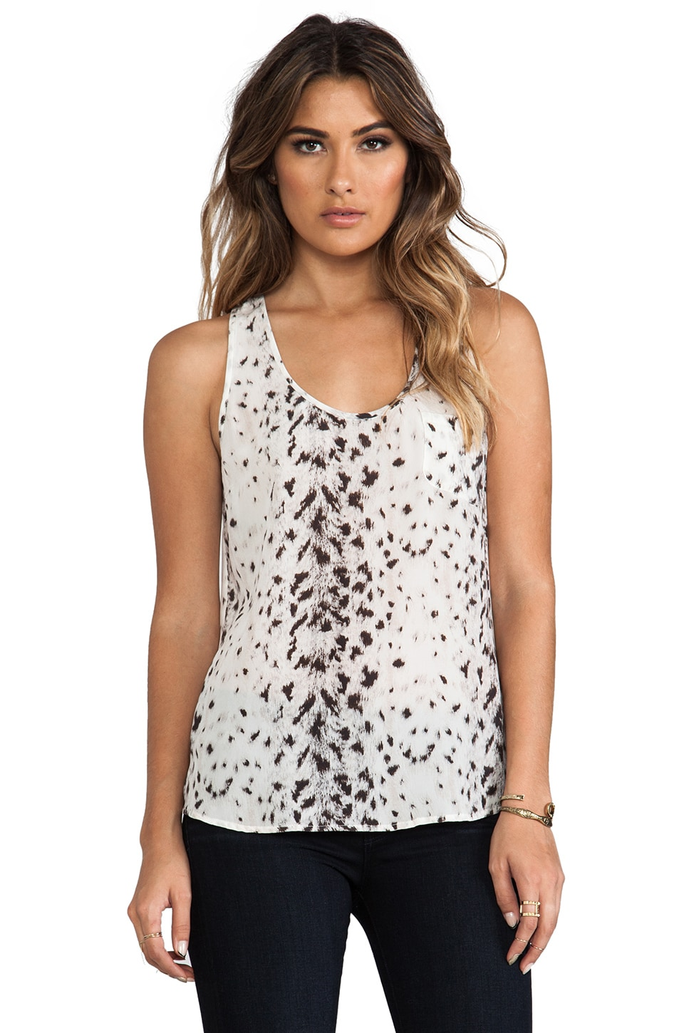 Joie Snow Leopard Silk Rain B Tank in New Moon