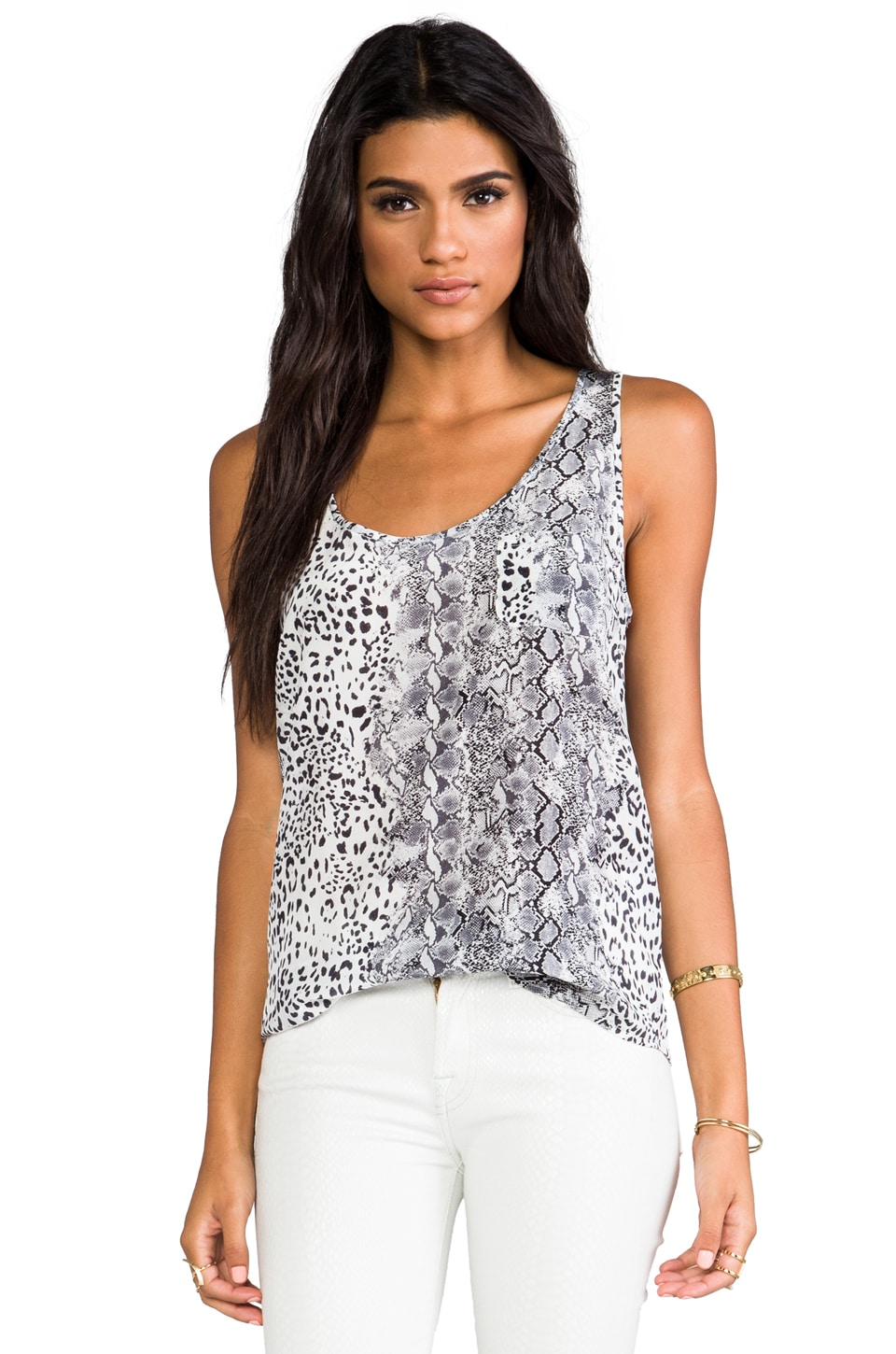 Joie Rain b. Animal Printed Tank in Caviar