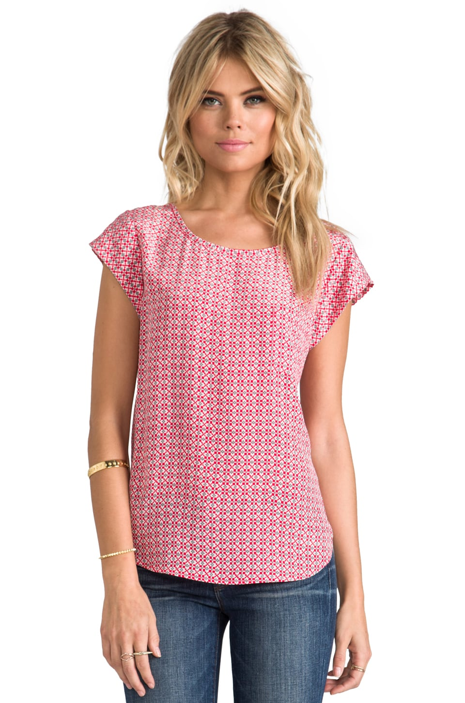 Joie Rancher Top in Carnelian w/ Grey