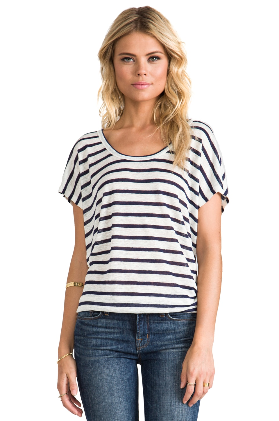 Joie Maddie Top in Porcelain w/ Dark Navy