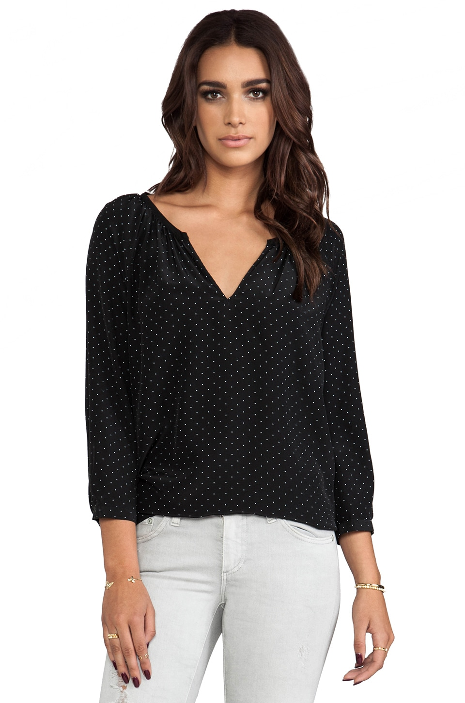 Joie Balisa Polka Dot Silk Blouse in Caviar