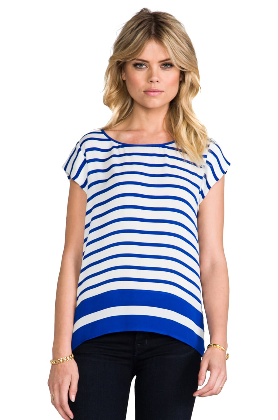 Joie Terry B Striped Matte Silk Top in Fifties Blue & Porcelain