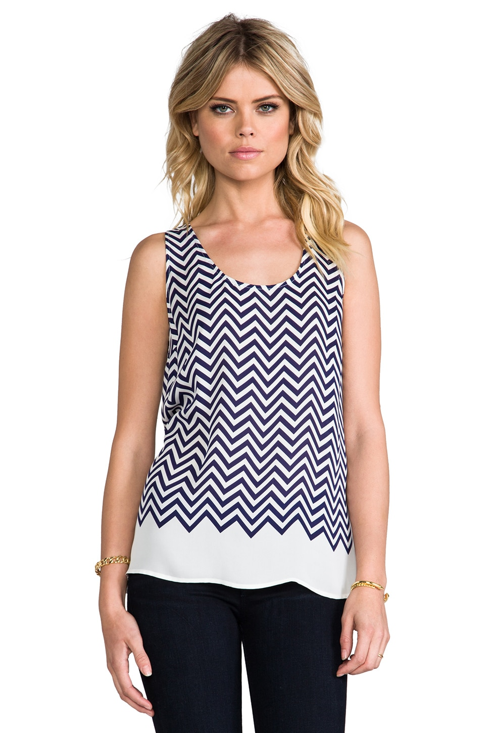 Joie Placed Rain G Matte Silk Tank in Dark Navy
