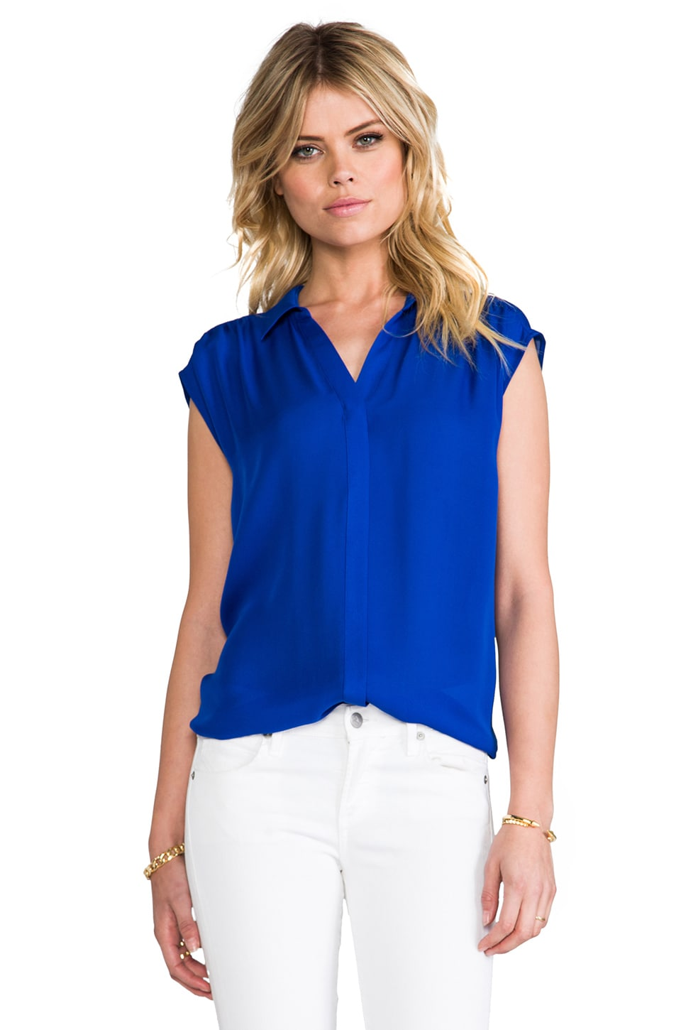 Joie Bernadette Matte Silk Tank in Fifties Blue