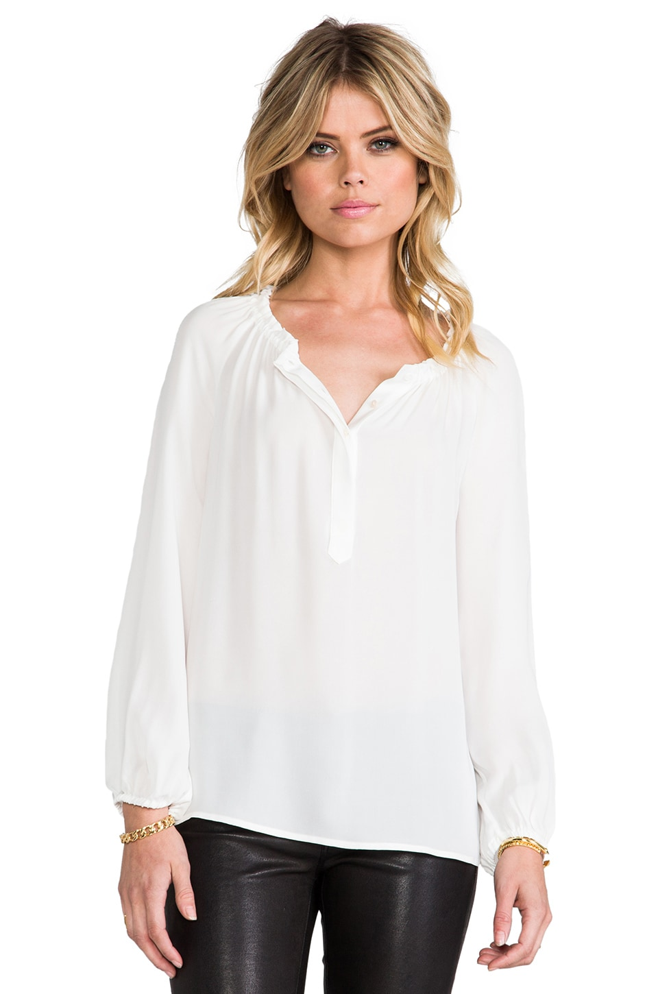 Joie Lilou Matte Silk Blouse in Porcelain