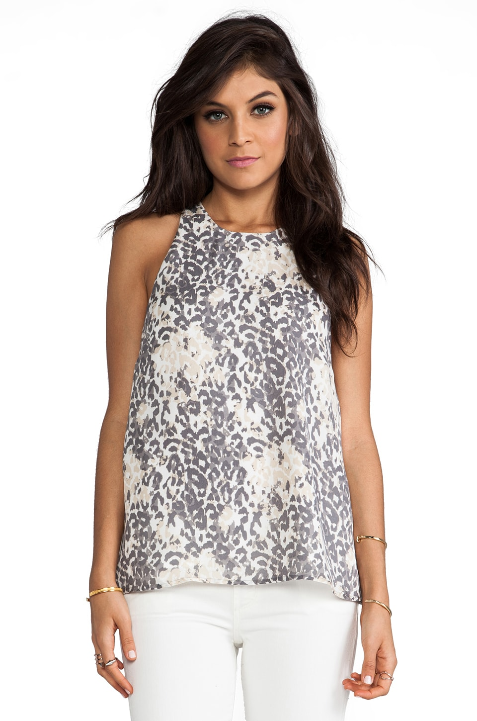 Joie Brighton Leopard Print Silk Tank in Steel
