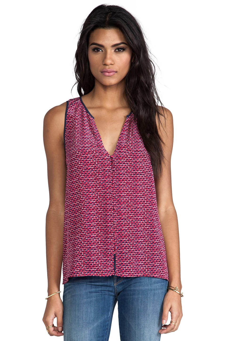 Joie Jianna Printed Silk Tank in Candy Red