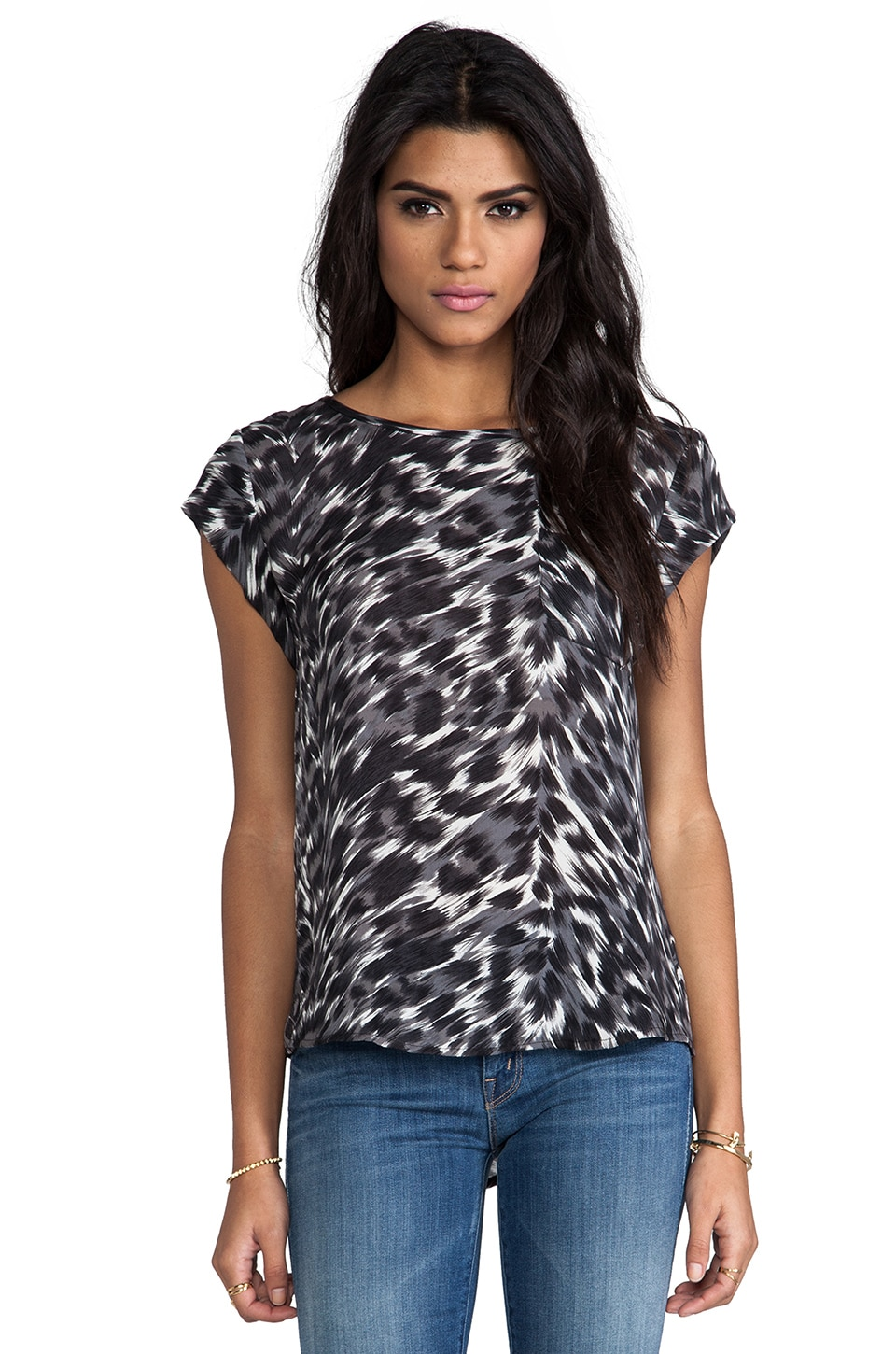Joie Rancher Animal Print Top in Caviar